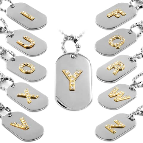 Polished Two Tone Crystal Initial Dog Tag Pendant - Silver