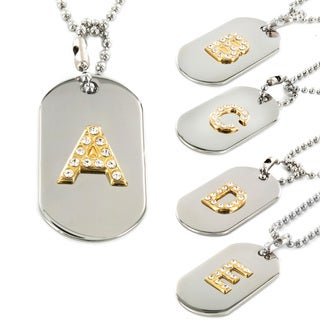 Polished Two-tone Clear Crystal Initial Dog Tag Pendant and Necklace