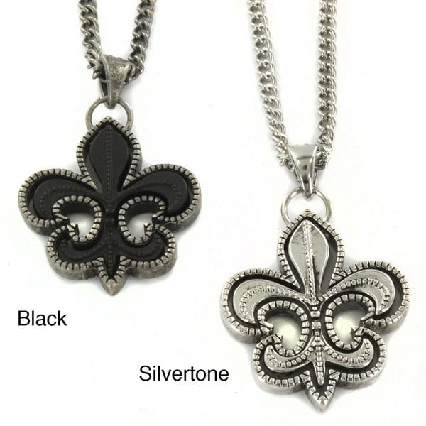 Black or Silvertone Fleur de Lis Necklace