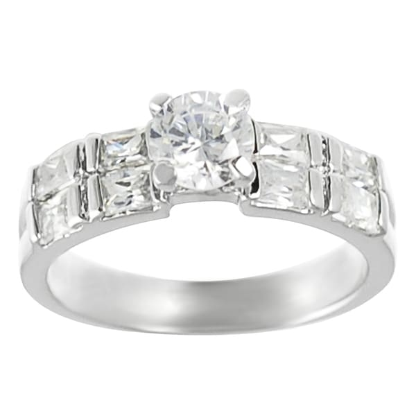 Journee Collection  Silver Round and Emerald-cut Cubic Zirconia Engagement Ring