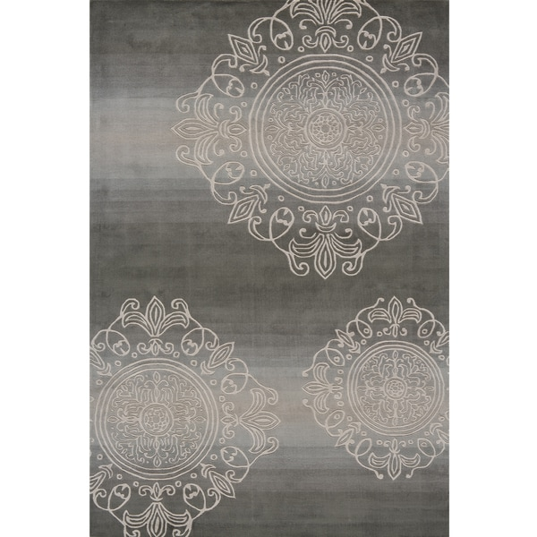 Hand-Tufted Valencia Medallion Grey Rug (8'0 x 11'0)