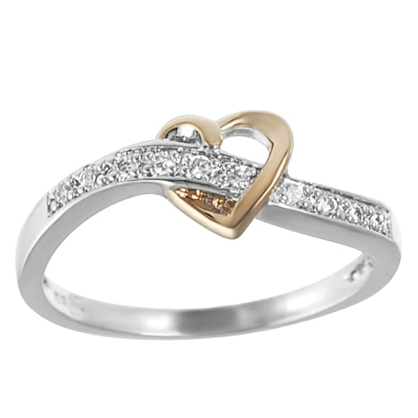Rose Gold-plated and Sterling Silver Cubic Zirconia Heart Ring