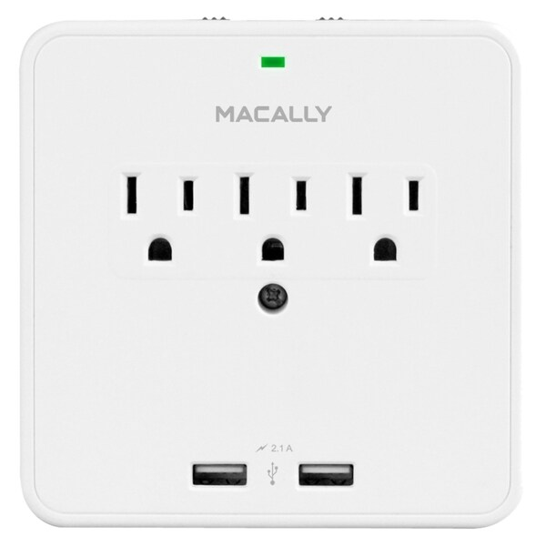 Macally Power Outlet & Dual USB Charger With Phone Cradle