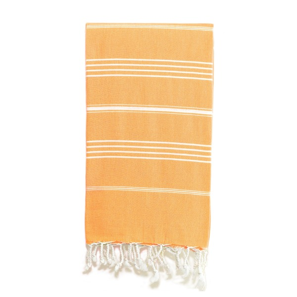 Authentic Pestemal Fouta Original Orange and White Stripe Turkish Cotton Bath/ Beach Towel