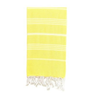 Authentic Pestemal Fouta Original Yellow and White Pencil Turkish Cotton Bath/ Beach Towel