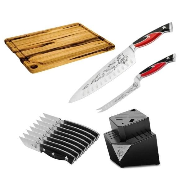 Guy Fieri 12-piece Knuckle Sandwich Block Teak Cutting Board Set
