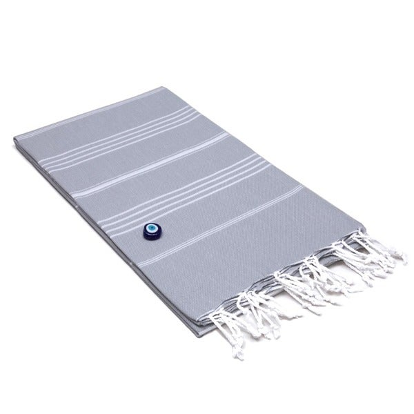 Authentic Pestemal Fouta Original Grey and White Pencil Turkish Cotton Bath/ Beach Towel. Opens flyout.