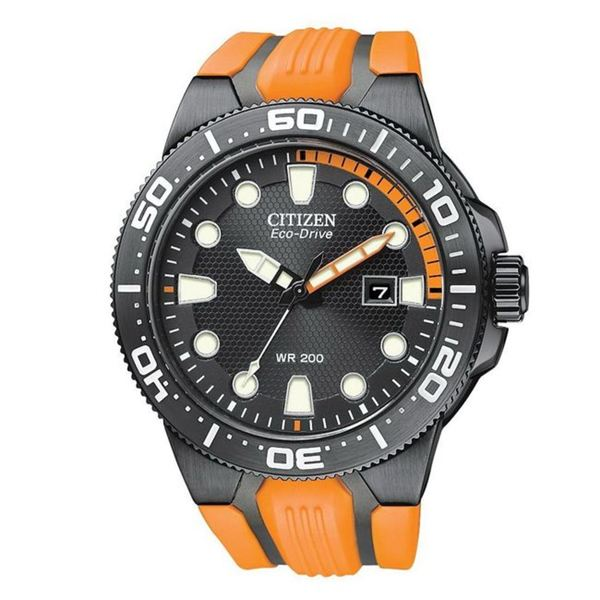 Citizen Men's Eco-Drive Orange Scuba Fin Rubber Black Dial Watch