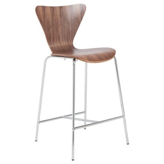 Tendy 26-inch Walnut/ Chrome Counter Stool (Set of 2)