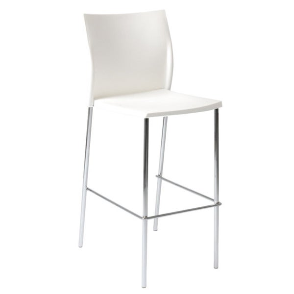 "Yeva 30"" White/Chrome Bar Stool, Set of 2"