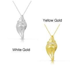 Eloquence Women's 10-karat Gold Diamond Seashell Accent Pendant Necklace