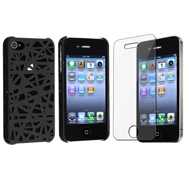 BasAcc Black Bird Nest Case/ Screen Protector for Apple iPhone 4/ 4S