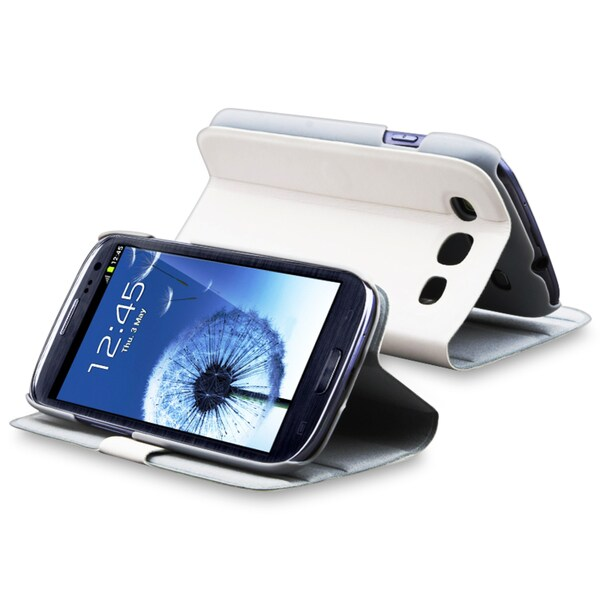 INSTEN White Leather Phone Case Cover with Stand for Samsung Galaxy S III i9300