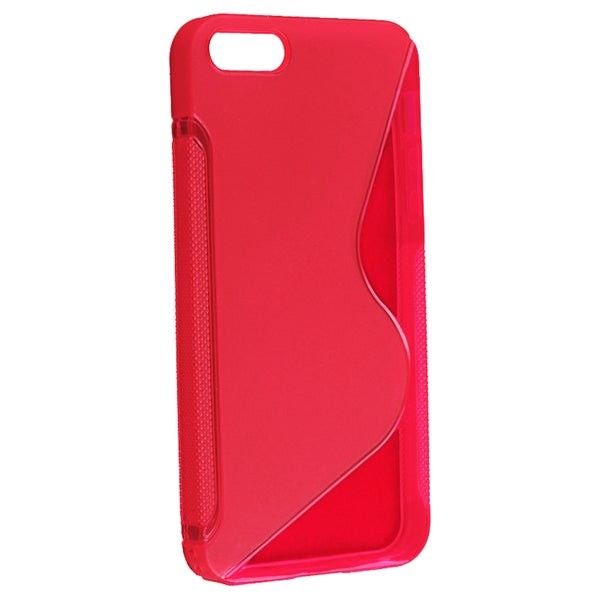 INSTEN Clear Red S Shape TPU Rubber Phone Case Cover for Apple iPhone 5