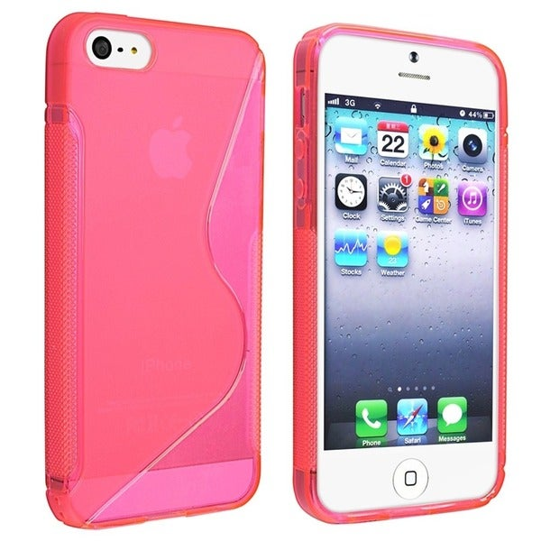INSTEN Clear Hot Pink S Shape TPU Rubber Phone Case Cover for Apple iPhone 5/ 5S
