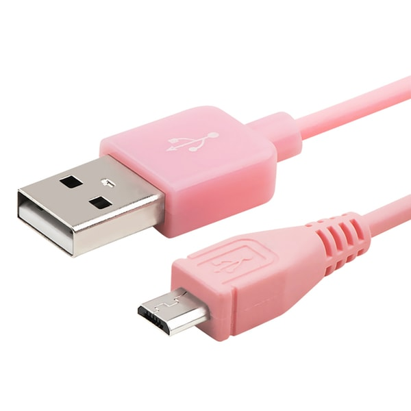Insten 3-foot Pink Universal Micro USB 2-in-1 Charging Data Transfer M/ M Cable Cord for Samsung Galaxy S6/ Edge
