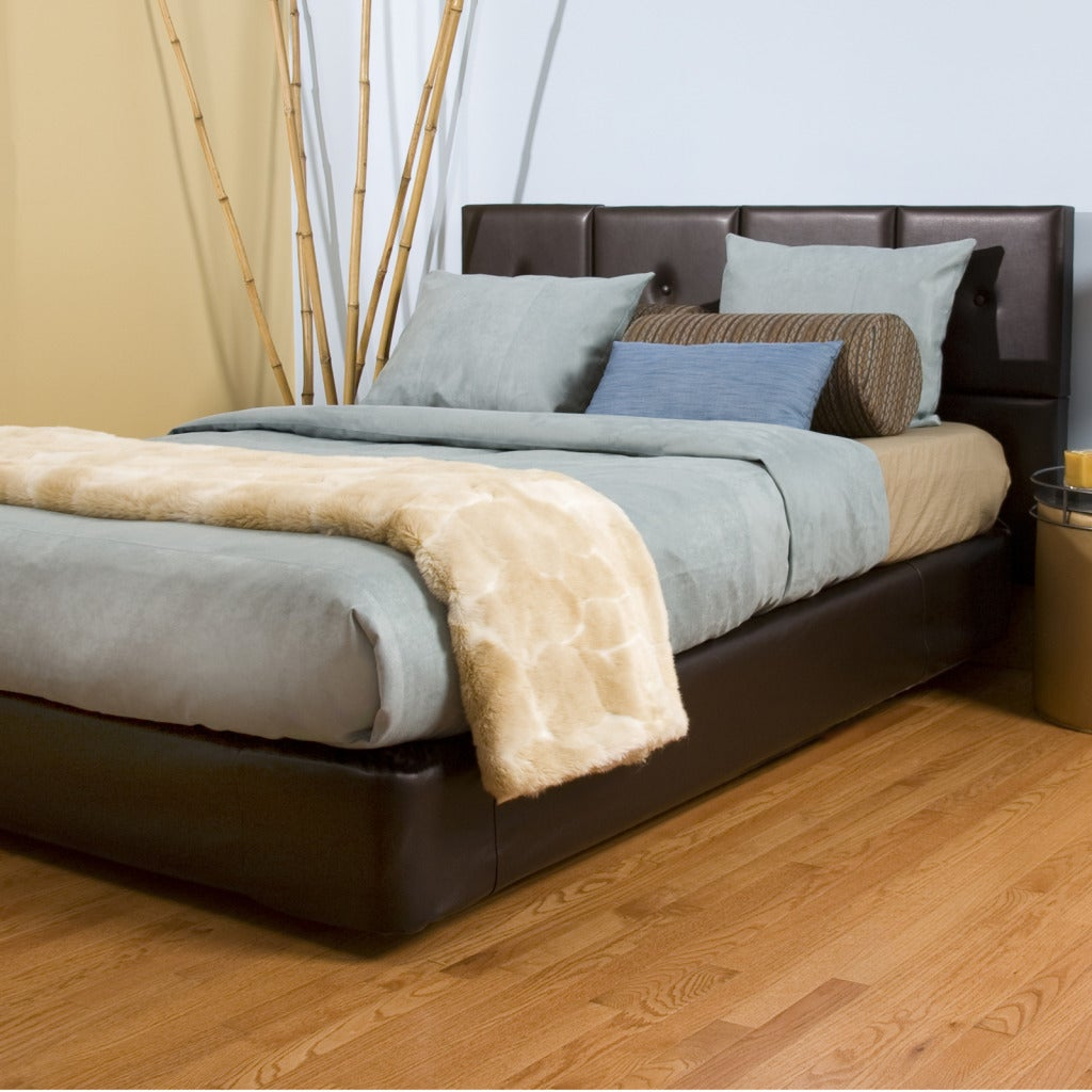 Queen-size Brown Faux Leather Tile Bed