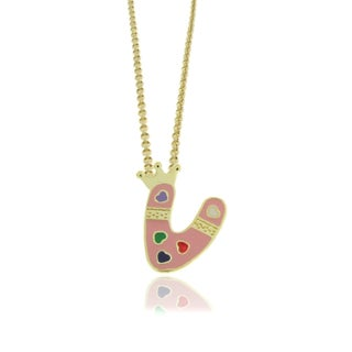Molly and Emma 18k Gold Overlay Children's Enamel Heart A to Z Option Initial Pendant (More options available)