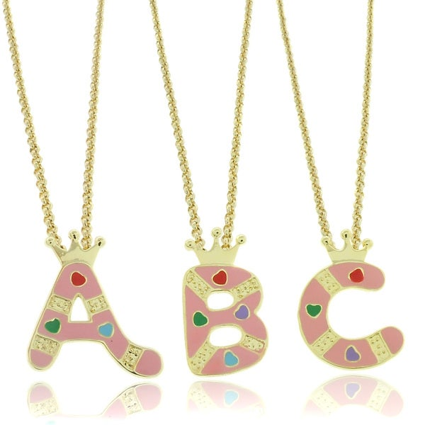 Molly and Emma 18k Gold overlay Enamel Heart Design Children's Initial Pendant