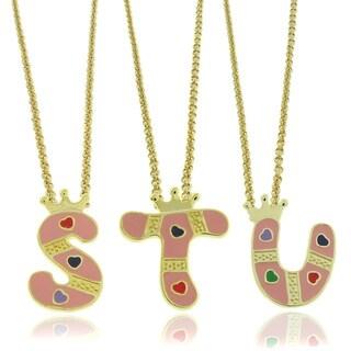 Molly and Emma 18k Gold Overlay Children's Enamel Heart Initial Pendant