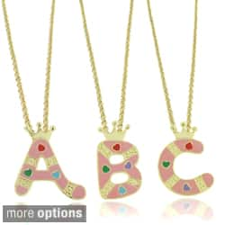 Molly and Emma 18k Gold Overlay Children's Enamel Heart A to Z Option Initial Pendant|https://ak1.ostkcdn.com/images/products/7179291/Molly-and-Emma-18k-Gold-overlay-Enamel-Heart-Design-Childrens-Initial-Pendant-P14668100A.jpg?impolicy=medium
