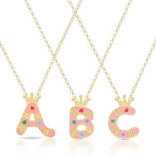 Molly And Emma 18k Gold Overlay Children S Enamel Heart A To Z Option Initial Pendant
