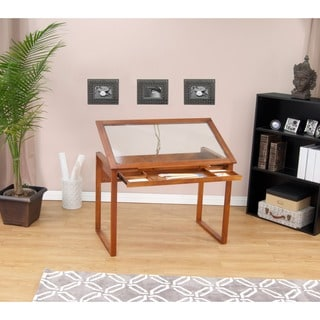 Studio Designs Ponderosa Glass Top Solid Wood Drafting and Hobby Craft Table