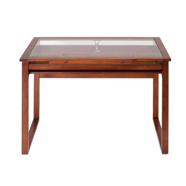 Nice Studio Designs Ponderosa Glass Top Solid Wood Frame Drafting Table   Free  Shipping Today   Overstock.com   14668106