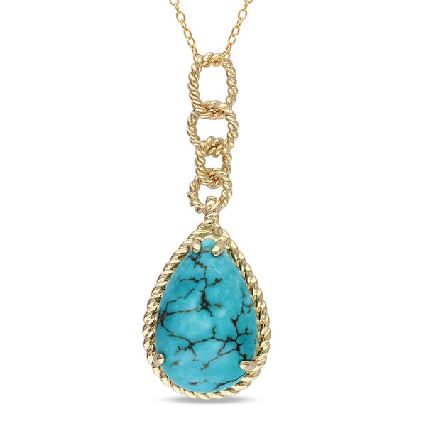 Miadora Yellow-plated Silver Turquoise Necklace