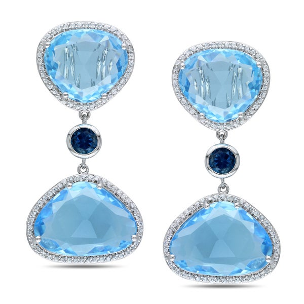 Miadora Sterling Silver Blue Topaz and Created Sapphire Earrings