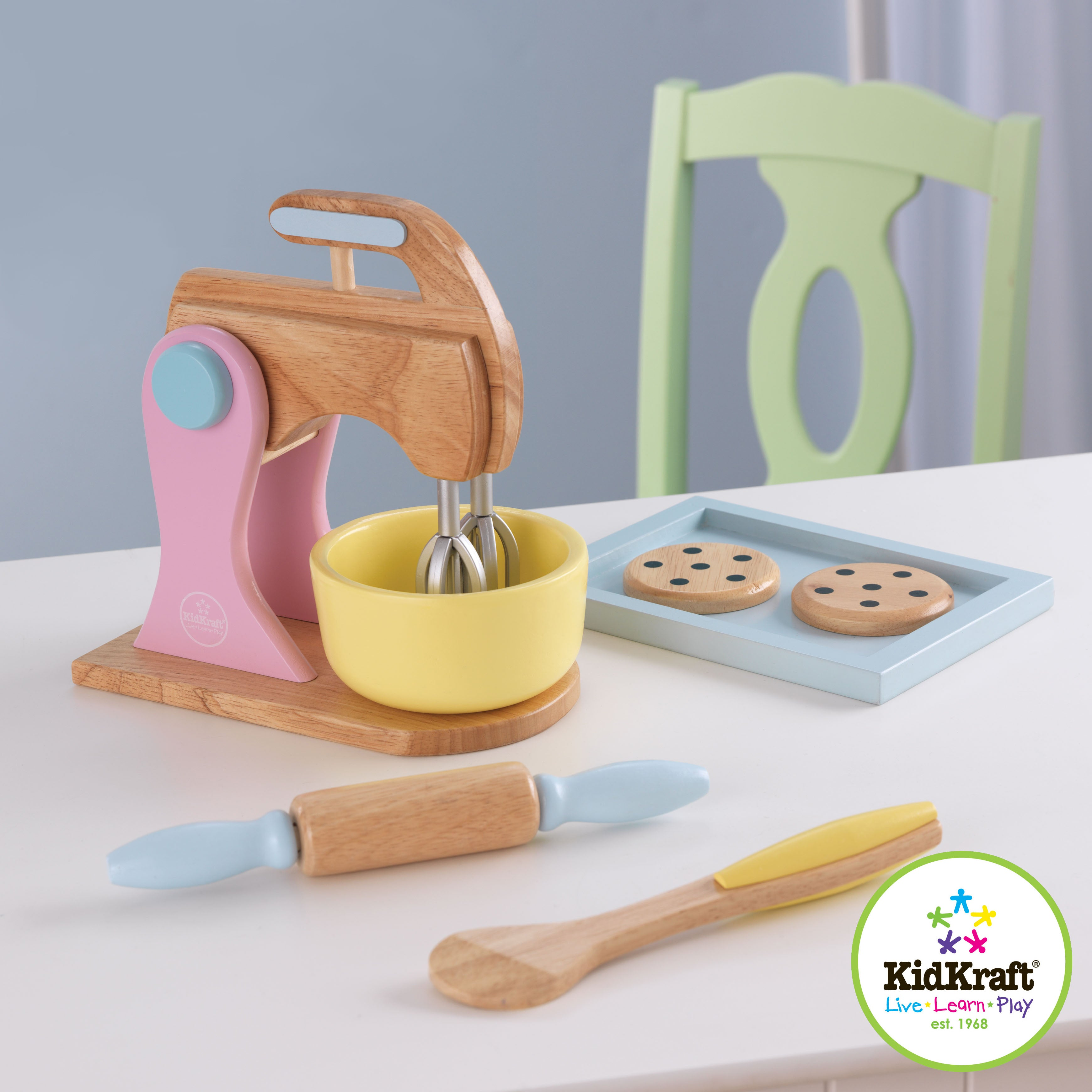 Kidkraft Pastel Cookie Baking Set With Rolling Pin And Mixer