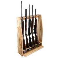Rush Creek Natural Wood 6-gun Rack with Storage