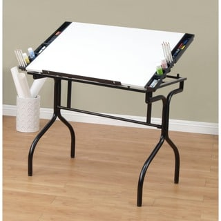 Studio Designs Black/White Foldable Drafting and Hobby Craft Station Table