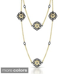 Collette Z Sterling Silver Flower Station Black or Gold CZ Necklace