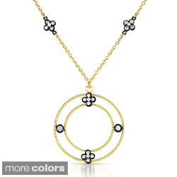 Collette Z Gold over Silver Cubic Zirconia Circle Drop Necklace