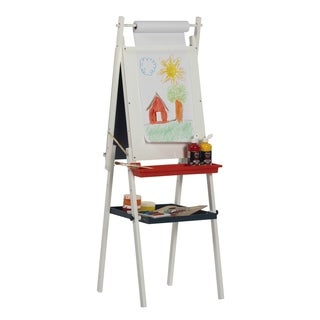 Studio Designs Kid's White Foldable Dual-sided Easel With Storage Tray