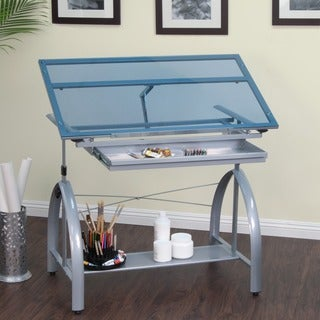 Studio Designs Avanta Silver & Blue Glass Drafting Table