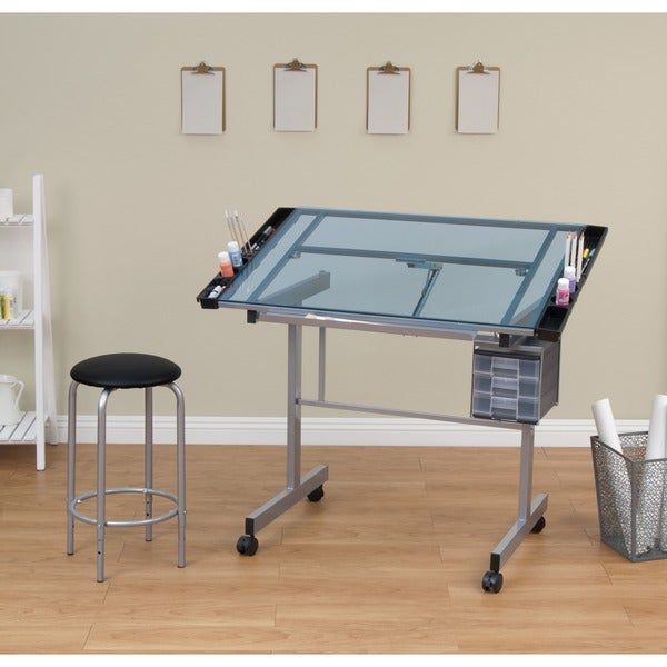 Studio Designs Vision Blue Glass Top 2-piece Drafting Table with Stool