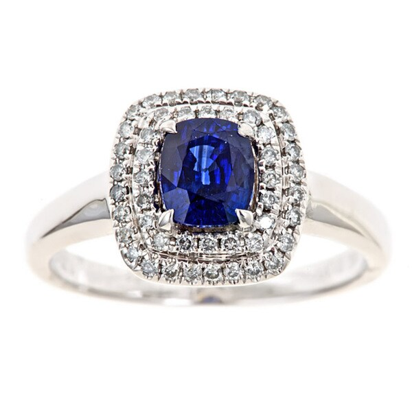 18k White Gold Ceylon Blue Sapphire and 1/3ct TDW Diamond Bridal Ring by Anika and August