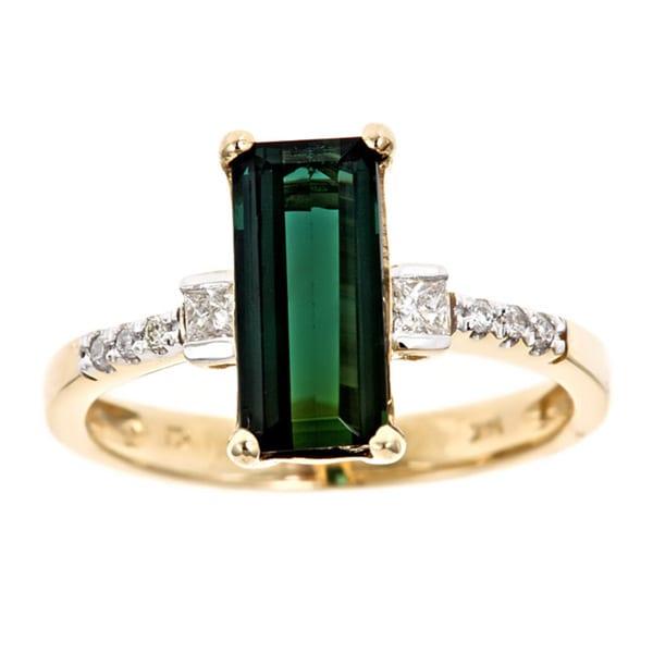 D'Yach 14k Gold Green Tourmaline and 1/6ct TDW Diamonds Ring (G-H, I1-I2)