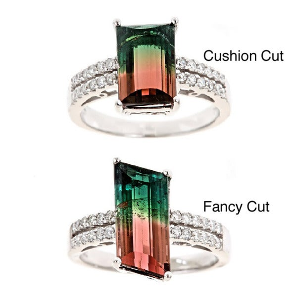 D'yach 14k Gold Multicolor Tourmaline and 1/3ct TDW Diamond Ring (G-H, I1-I2)