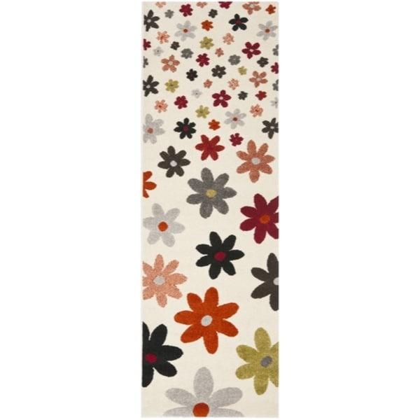 Safavieh Porcello Contemporary Daisies Ivory/ Multi Runner Rug (2'4 x 6'7)