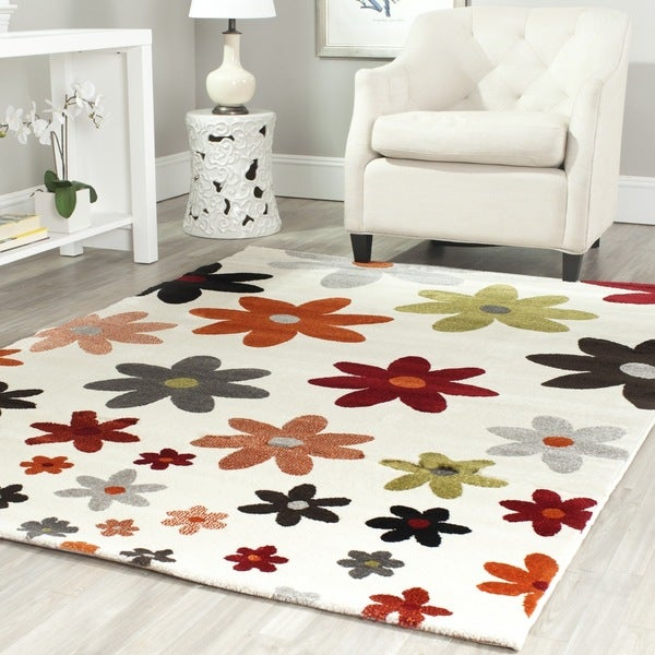 Safavieh Porcello Contemporary Daisies Ivory Rug (5'3 x 7'7)