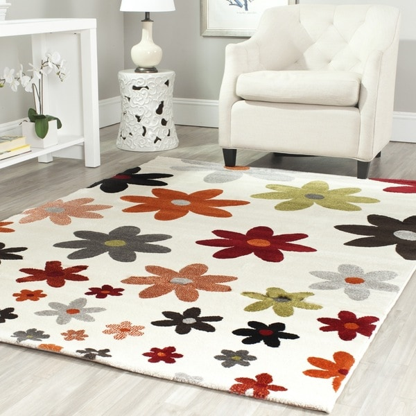 Safavieh Porcello Contemporary Daisies Ivory/ Multi Rug (8' x 11'2)