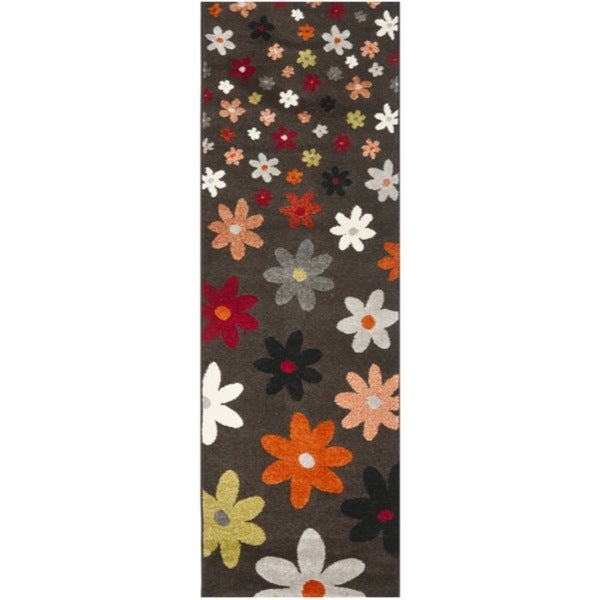 Safavieh Porcello Contemporary Daisies Brown/ Multi Runner Rug (2'4 x 6'7)