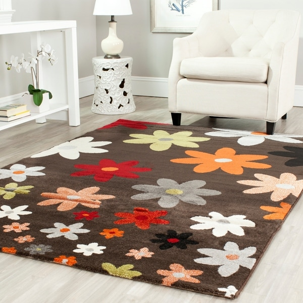Safavieh Porcello Contemporary Daisies Brown/ Multi Rug - 8' x 11'2