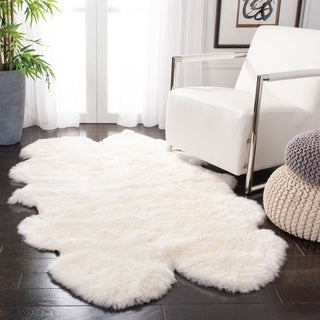 Safavieh Prairie Natural Pelt Sheepskin Wool White Shag Rug (5' x 8')