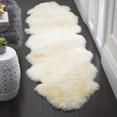 Safavieh Prairie Natural Pelt Sheepskin Wool White Shag Rug - 2' x 6'