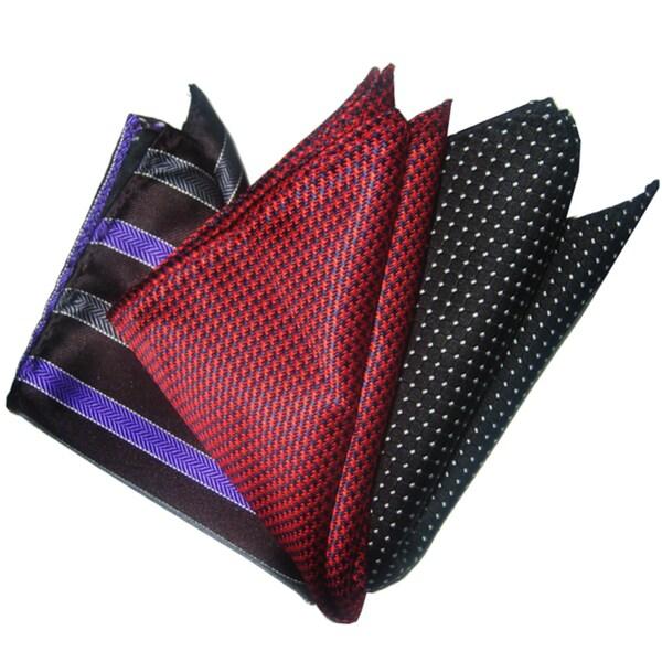 Dmitry Men's Italian Silk Pocket Squares (Set of 3)