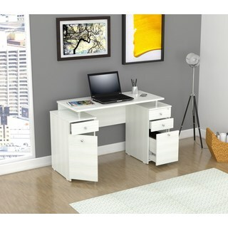 Inval Laricina White Modern Straight Computer Writing Desk with Locking File Drawer